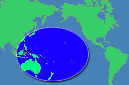 Map of the PBIF area: the Pacific Basin, East and Southeast Asia, and Australia